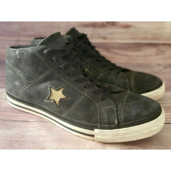 Converse Mens One Star Mid Trainer Black Sneakers
